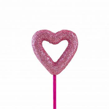 Pick Coração Vazado 08cm 1pc Rosa