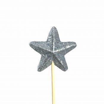 Pick Estrela Cheia 07cm 1pc Branca Com Glitter