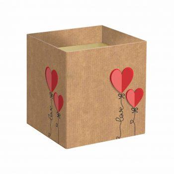 Cachepot Quadrado Love Letter 14,5cmx14,5cmx15,5cm 10pc Natural/Vermelho