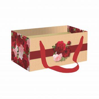 Caixa Kit Lady Love C/ Alça 20cmx12cmx10cm 1pç Vermelho/Natural
