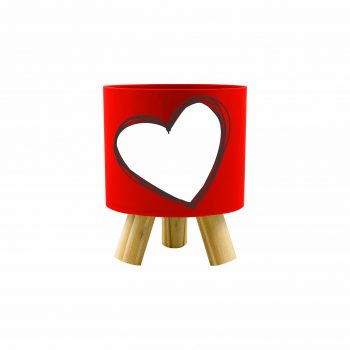 Cachepot Acrílico Pliê Valentine C/ Pés De Madeira 11,5cmx14cm 1pç Vermelho