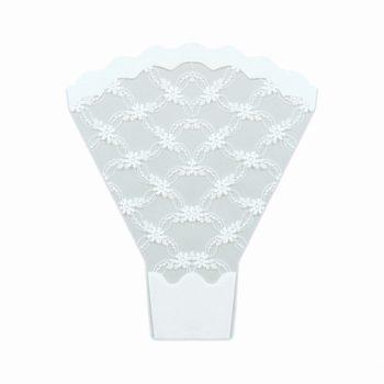 Bouquet Taça Grinalda 48cmx42cmx12cm 25pc Branco