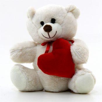 Decorativo Pelúcia Urso C/ Coração 14cm Bege