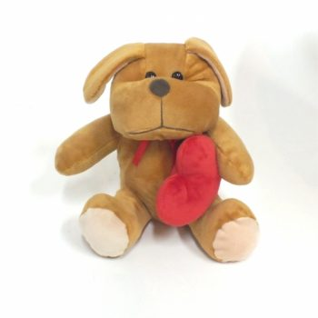 Decorativo Pelúcia Cachorro C/ Coração 19cm Marrom
