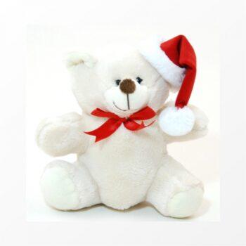 Decorativo Pelúcia Urso Natal 19cm Bege