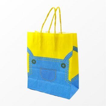 Sacola Kraft Jardineira 13cmx18cmx8cm 10pçs Azul/Amarelo
