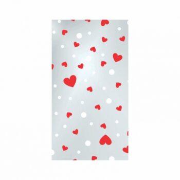 Saco Poli Love Hearts 12cmx22cm 100pc Vermelho