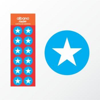 Cartela De Etiqueta Estrela 04cm 24pçs Multicor