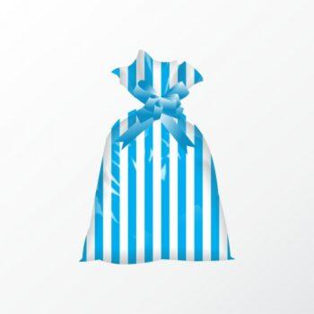 Saco Poli Perolado Listrado 12cmx22cm 50pçs Azul