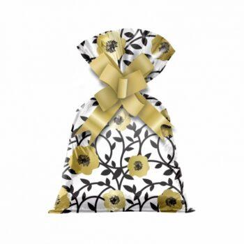 Saco Poli Perolado Chloe 12cmx22cm 50pçs Ouro/Preto