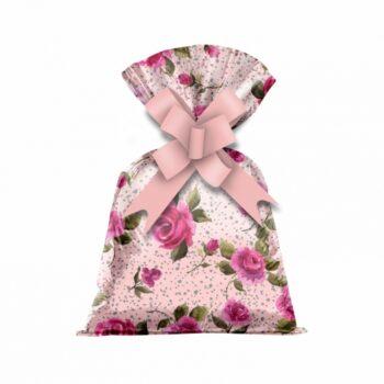 Saco Poli Metalizado Florata 12cmx22cm 50pçs Rosa