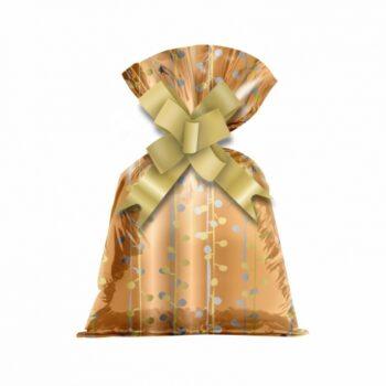 Saco Poli Metalizado Twigs 12cmx22cm 50pçs Bronze/Ouro