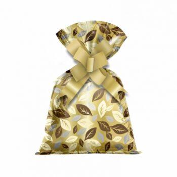 Saco Poli Metalizado Folhas 15cmx25cm 50pçs Ouro