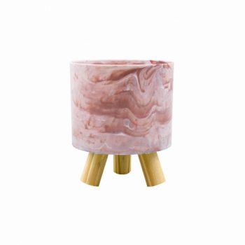 Cachepot Acrílico Pliê C/ Pés De Madeira 11,5cmx14cm 1pç Marmorizado Rosa
