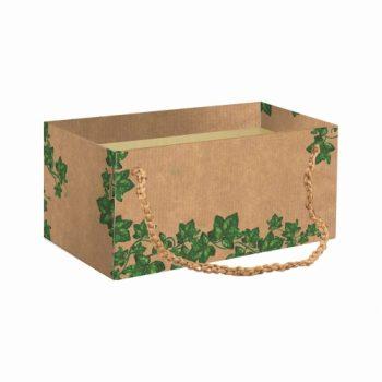 Caixa Kit Hera C/ Alça Rami 20cmx12cmx10cm 1pç Natural/Verde