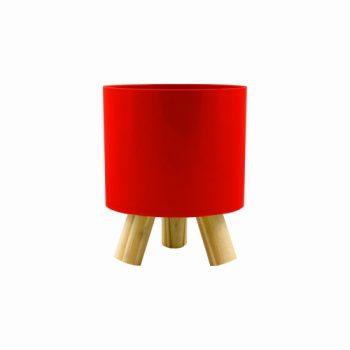 Cachepot Acrílico Pliê C/ Pés De Madeira 11,5cmx14cm 1pç Vermelho