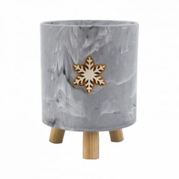 Cachepot Acrílico Marmorizado Snow Flake C/ Pés De Madeira 15cmx19cm 1pç Cinza