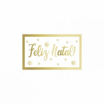 Etiqueta Adesiva Feliz Natal 03cmx05cm 50pc Branco/Ouro