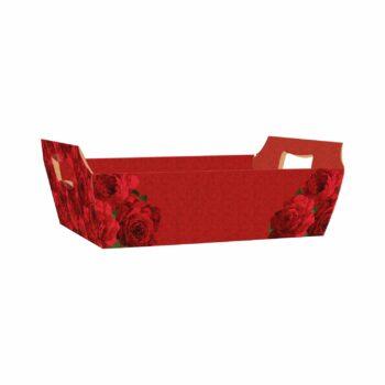 Bandeja Vintage Red Bloom 32cmx23cmx10cm 4pc Vermelho