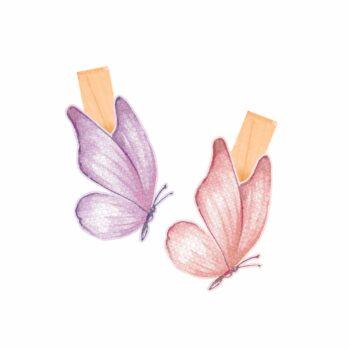 Decorativo Prendedor Soft Fly Pequeno 06pçs Lilás/Rosa