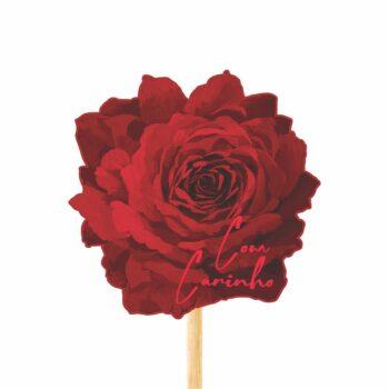 Pick MDF Flor Red Bloom 93mmx94mm 1pç Vermelho