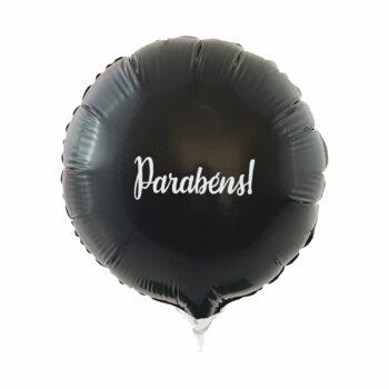 Balão Metálico Redondo Parabéns 9 Polegadas 4pçs Preto/Branco