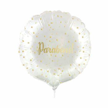Balão Metálico Redondo Parabéns 9 Polegadas 4pçs Incolor/Ouro
