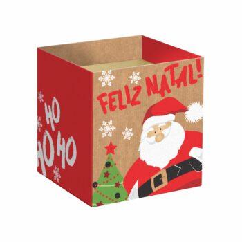 Cachepot Quadrado Noel 14,5cmx14,5cmx15,5cm 10pc Vermelho
