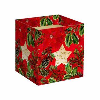 Cachepot Quadrado Star 14,5cmx14,5cmx15,5cm 10pc Vermelho