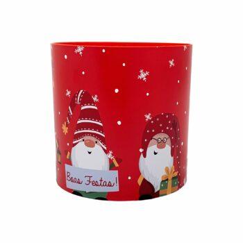 Cachepot Acrílico Elfos De Natal Pote 15 Vermelho