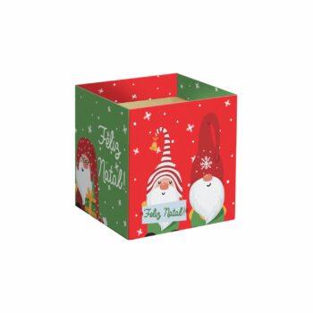 Cachepot Quadrado Elfos De Natal 11cmx11cmx11cm 10pc Vermelho/Verde