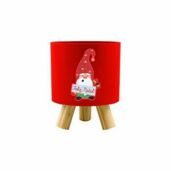 Cachepot Acrílico Pliê C/ Pés De Madeira Elfo De Natal 11,5cmx14cm 1pç Vermelho