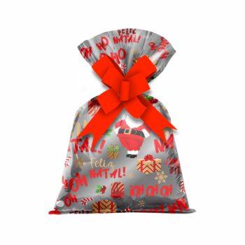 Saco Poli Metalizado Noel 25cmx35cm 50pçs Vermelho