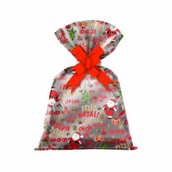 Saco Poli Metalizado Noel 50cmx68cm 25pçs Vermelho