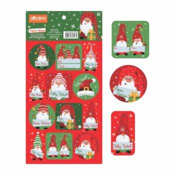 Cartela De Etiqueta Natal Elfos 15cmx30cm 24pçs Vermelho/Verde