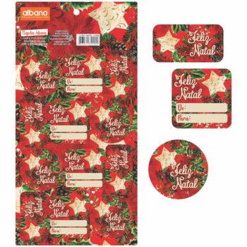 Cartela De Etiqueta Natal Star 15cmx30cm 24pçs Vermelho